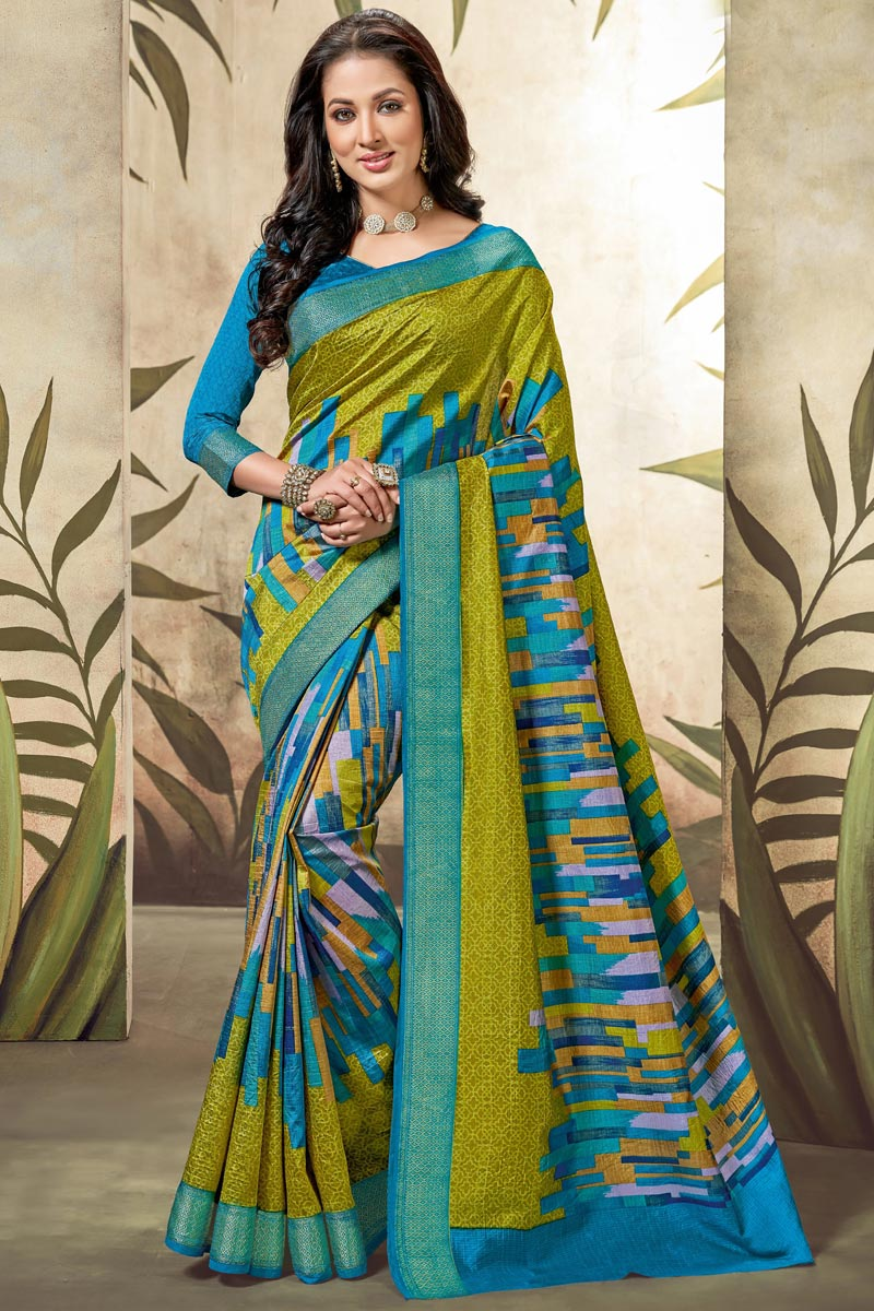 Festive Wear Designer Art Silk Print Work Saree In Sky Blue