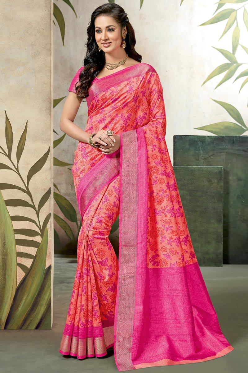 Art Silk Fancy Pink Festive Wear Saree With Printed Work