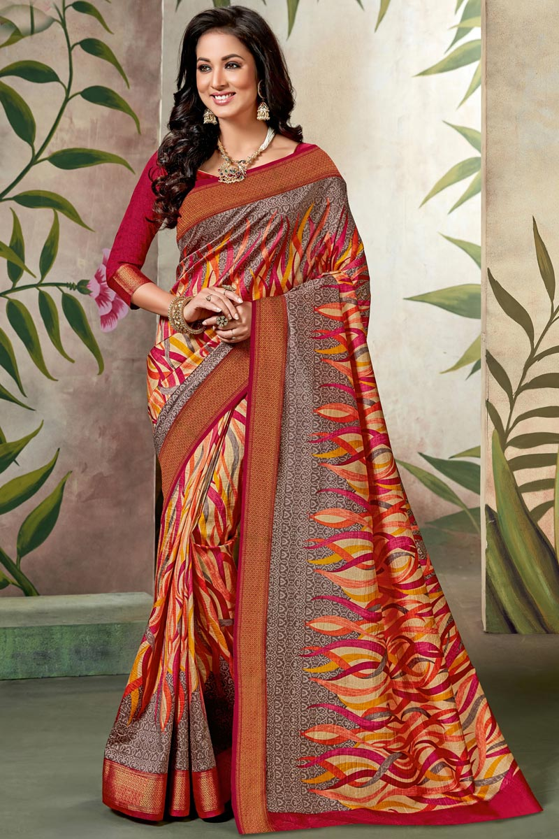 Fancy Multi Color Designer Art Silk Festive Wear Printed Saree