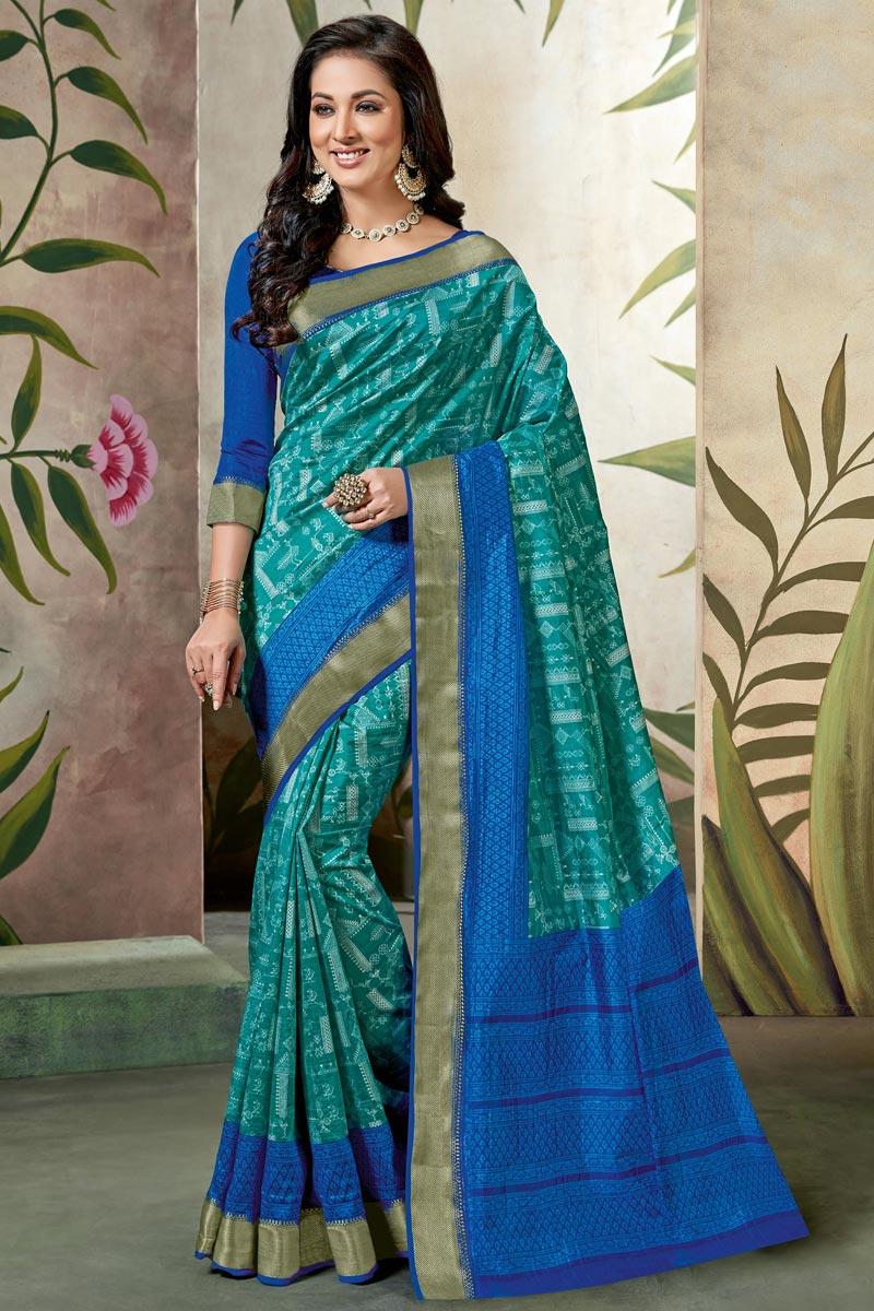 Festive Wear Cyan Fancy Saree In Art Silk With Printed Work