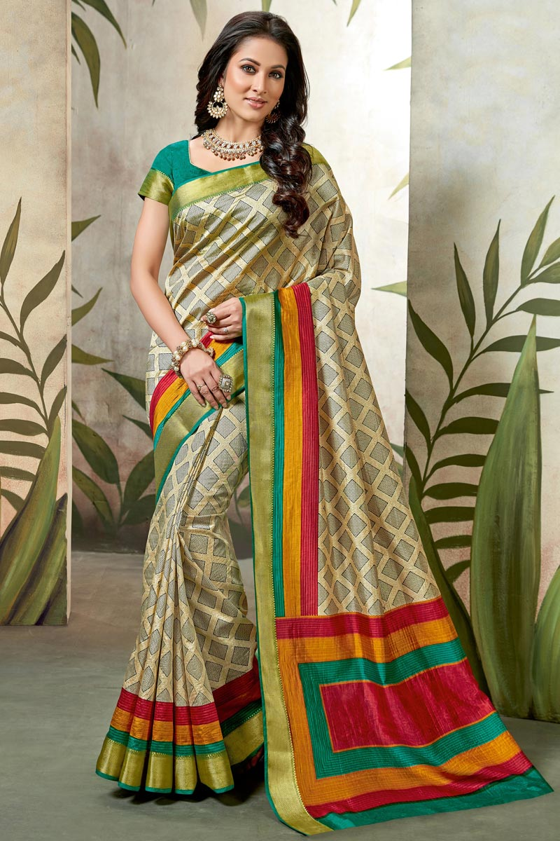 Festive Wear Fancy Cream Saree In Art Silk With Printed Work