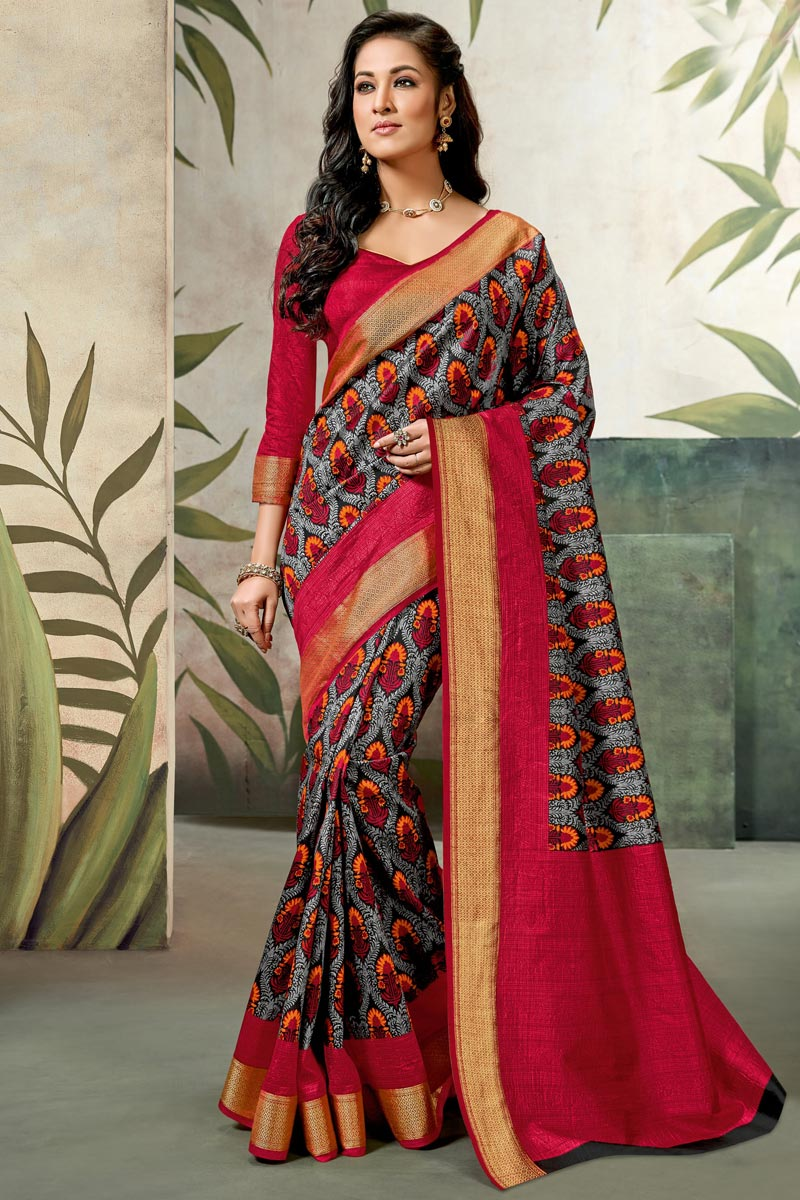 Red Fancy Art Silk Festive Wear Saree With Printed Work