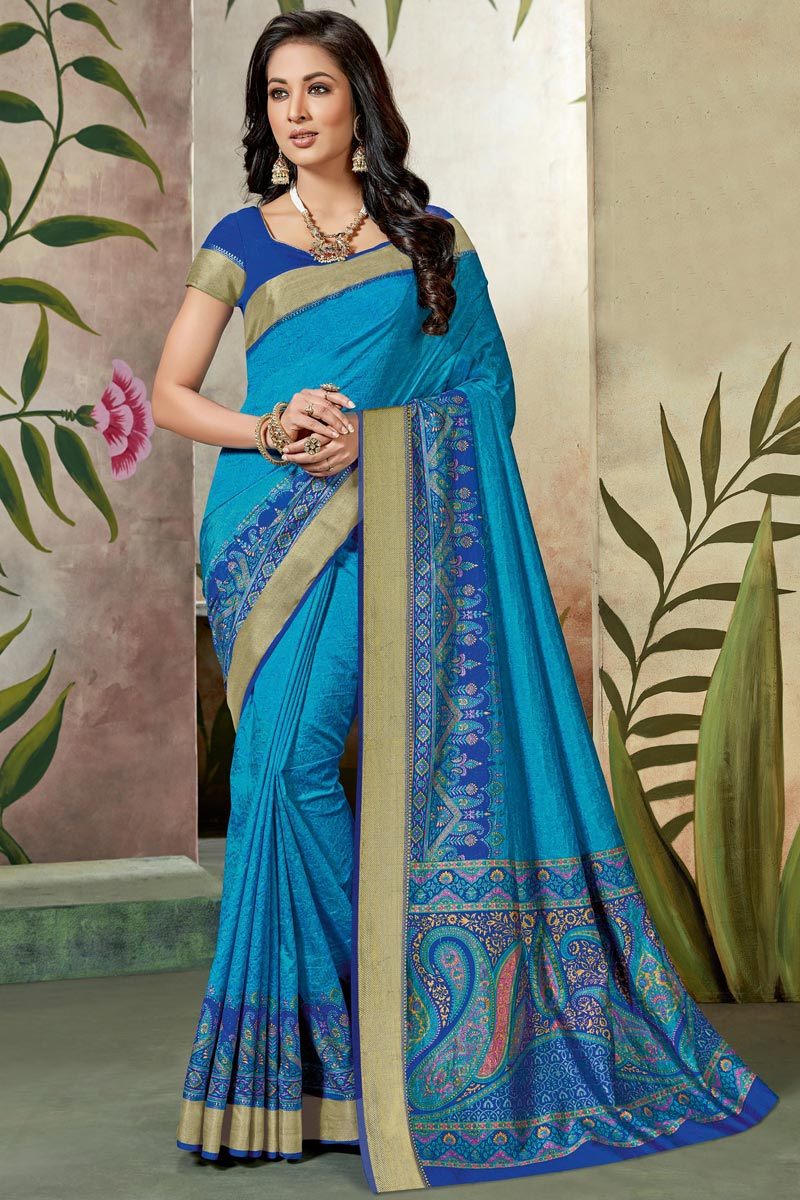 Fancy Art Silk Designer Sky Blue Festive Wear Printed Saree