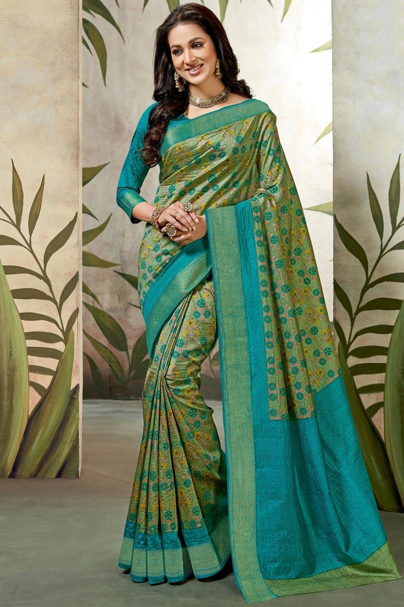 Art Silk Green Festive Wear Fancy Saree With Printed Work
