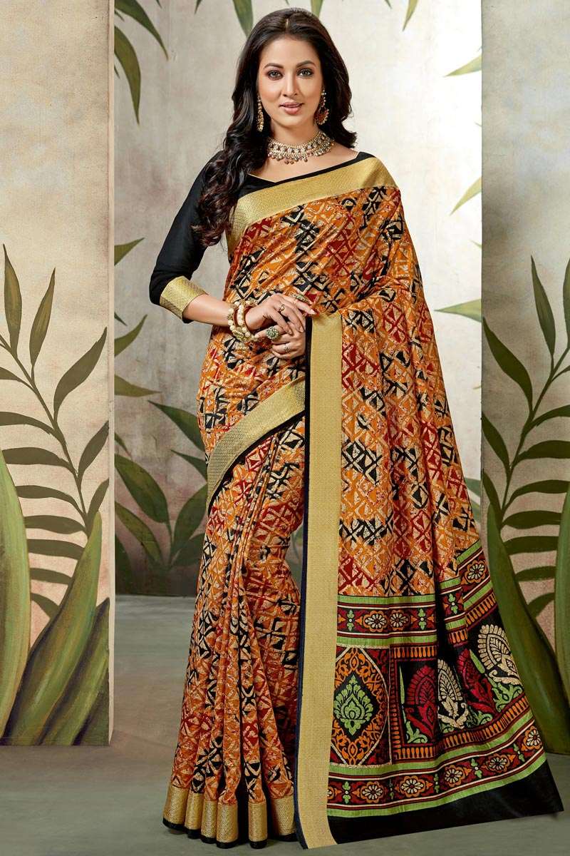 Festive Wear Art Silk Fancy Saree In Orange With Printed Work