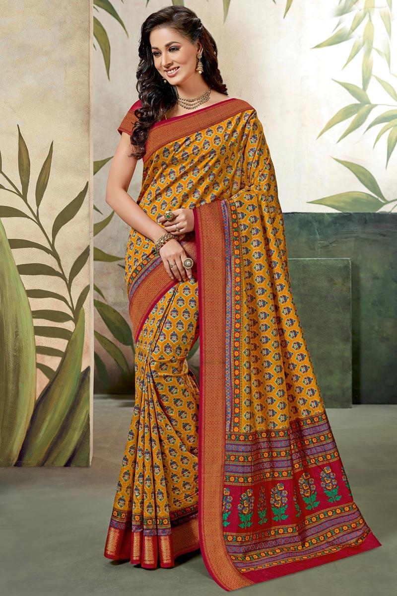 Fancy Yellow Festive Wear Art Silk Saree With Printed Work