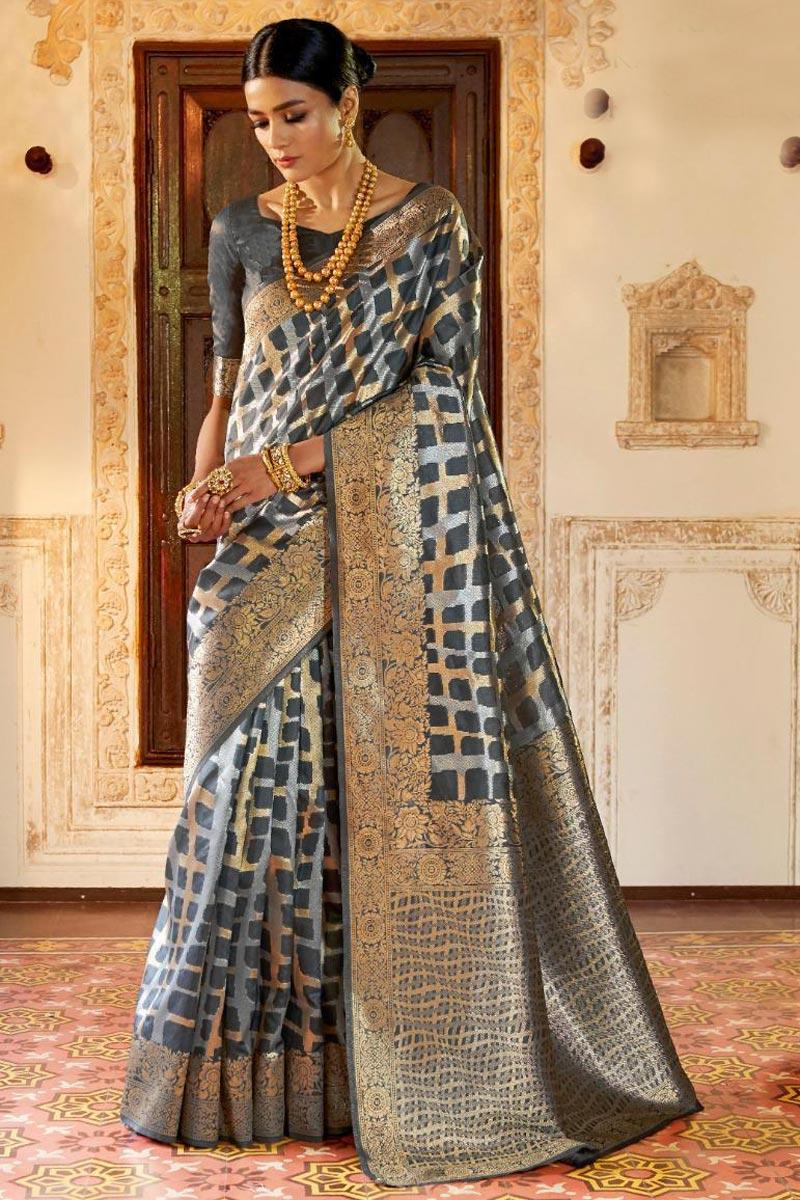 Party Wear Designer Weaving Work Fancy Art Silk Saree In Grey