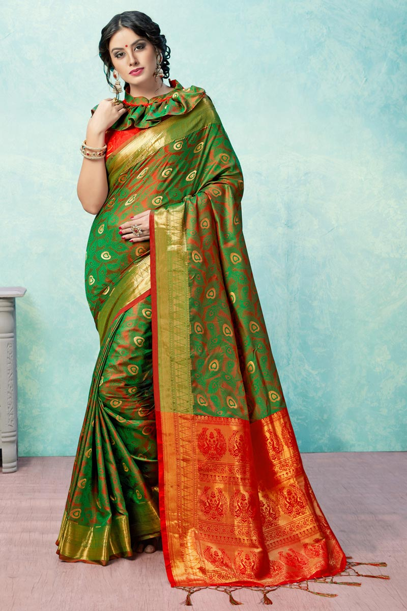Festive Wear Art Silk Designer Weaving Work Green Saree