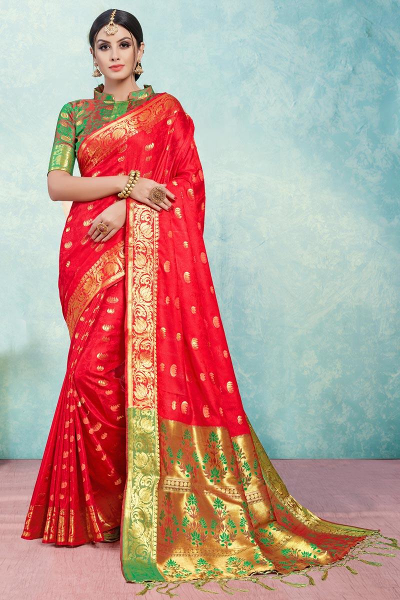 Red Festive Wear Fancy Art Silk Designer Saree With Weaving Work