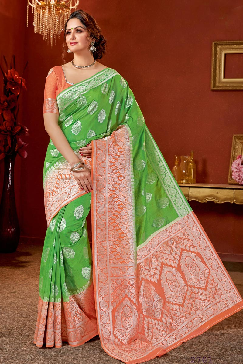 Jacquard Work On Reception Wear Saree In Art Silk Fabric Green Color With Charming Blouse