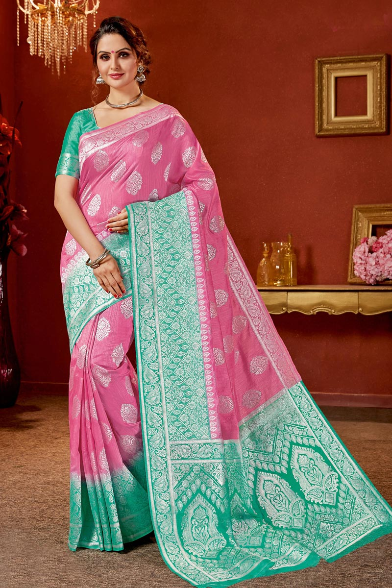 Jacquard Work On Pink Color Designer Saree In Art Silk Fabric With Admirable Blouse