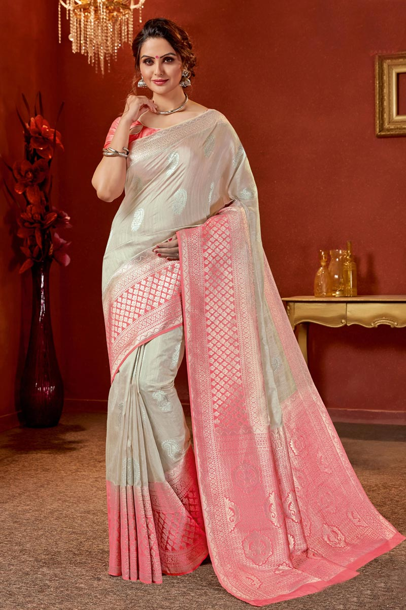 Art Silk Fabric Designer Jacquard Work Saree In Chikoo Color With Attractive Blouse