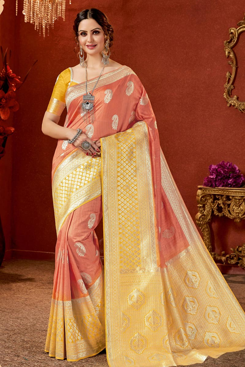 Salmon Color Party Wear Saree In Art Silk Fabric With Jacquard Work And Beautiful Blouse