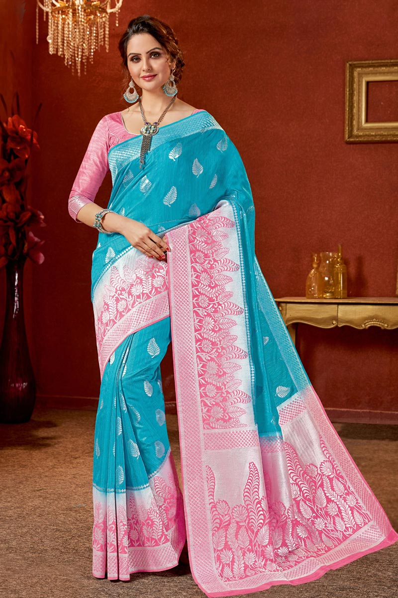 Art Silk Fabric Sky Blue Color Festive Wear Saree With Jacquard Work And Attractive Blouse