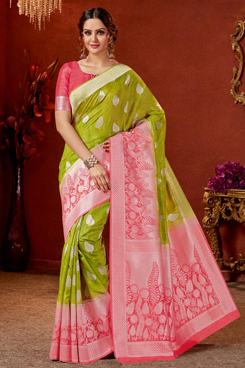 Occasion Wear Art Silk Fabric Jacquard Work Saree In Green Color With Designer Blouse