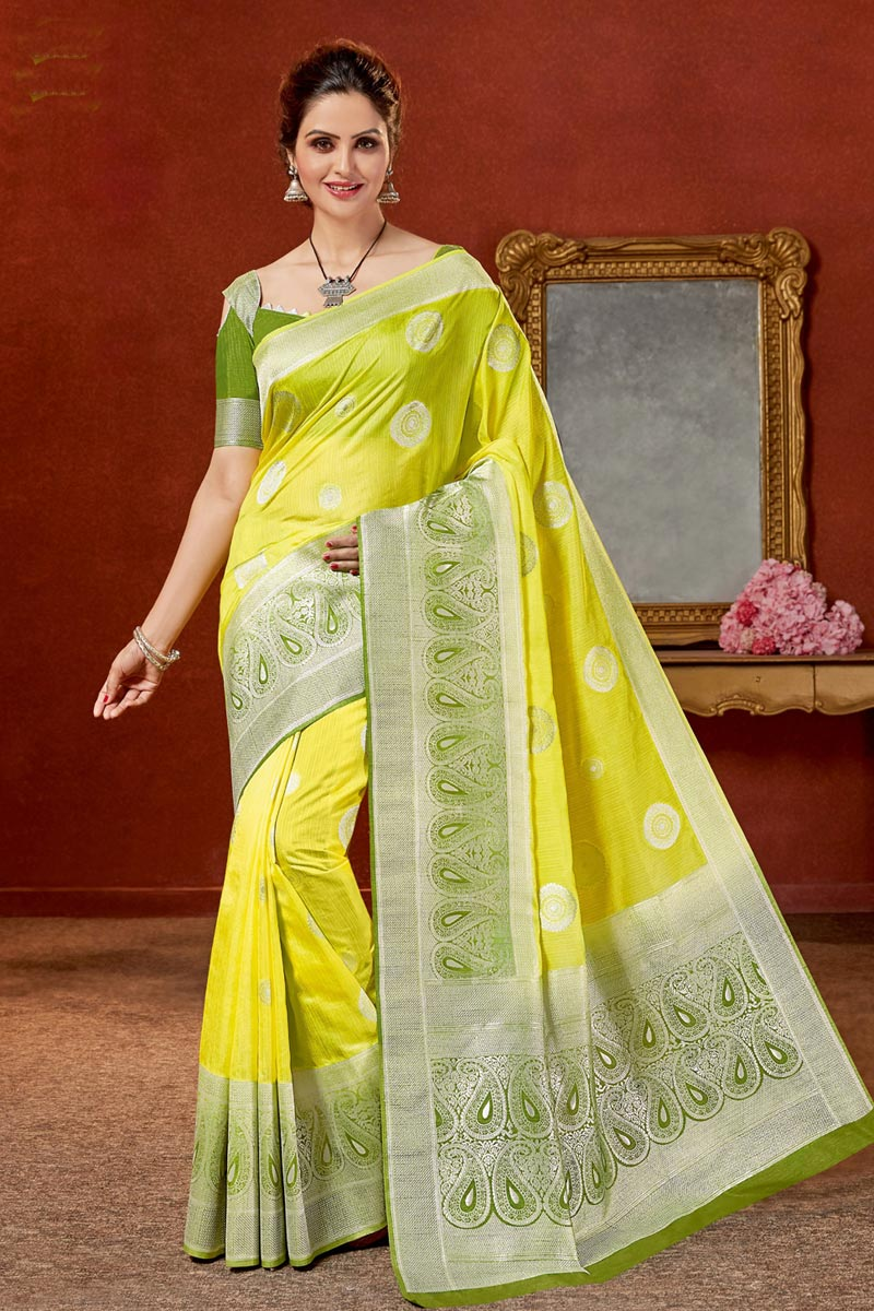 Jacquard Work On Art Silk Fabric Yellow Color Function Wear Saree With Marvelous Blouse