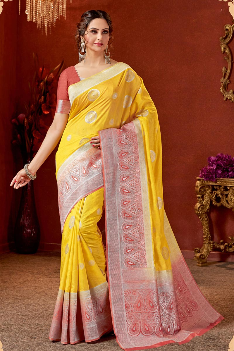 Mustard Color Art Silk Fabric Wedding Wear Saree With Jacquard Work And Gorgeous Blouse