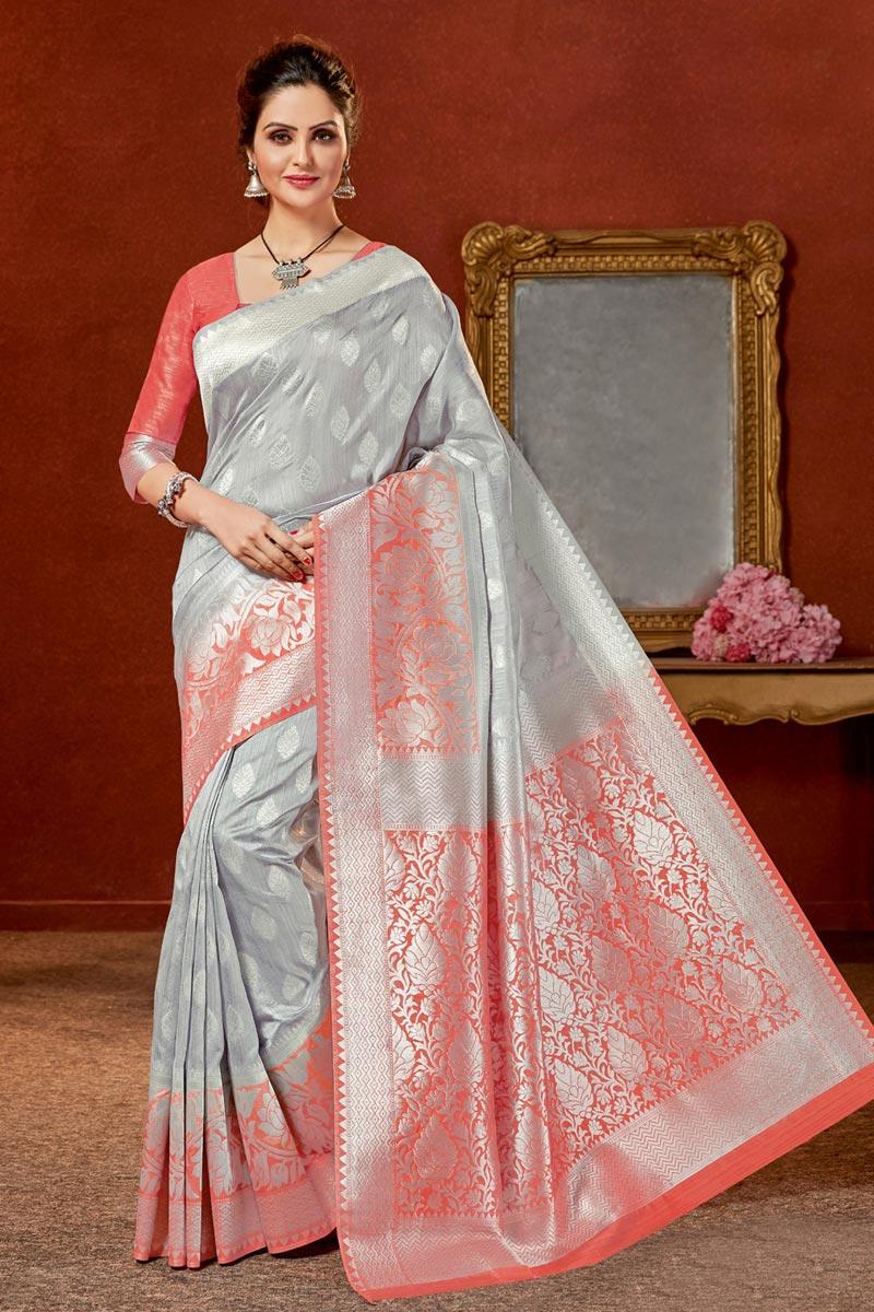 Art Silk Fabric Grey Color Jacquard Work Designer Saree With Designer Blouse