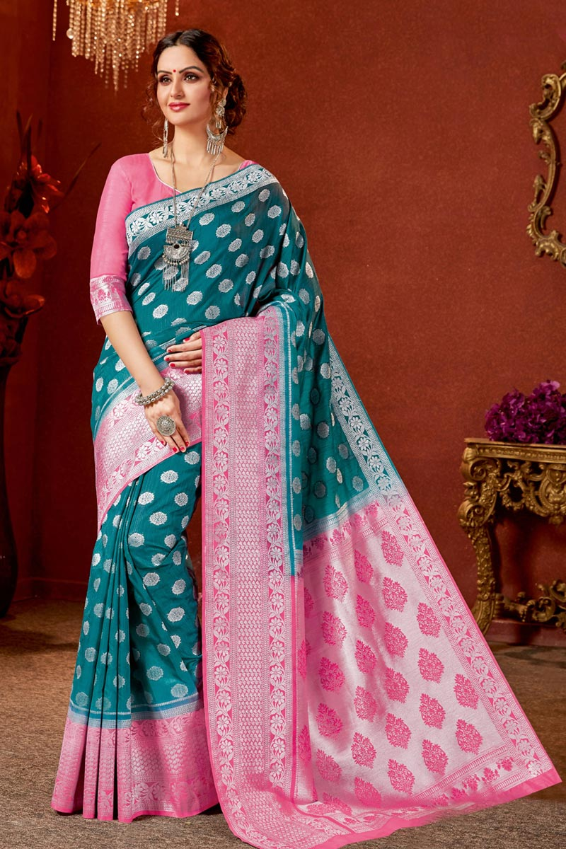 Jacquard Work On Teal Color Art Silk Fabric Party Wear Saree With Amazing Blouse