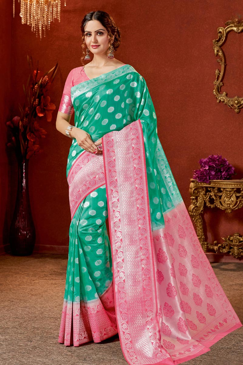 Green Color Art Silk Fabric Function Wear Saree With Jacquard Work And Astounding Blouse