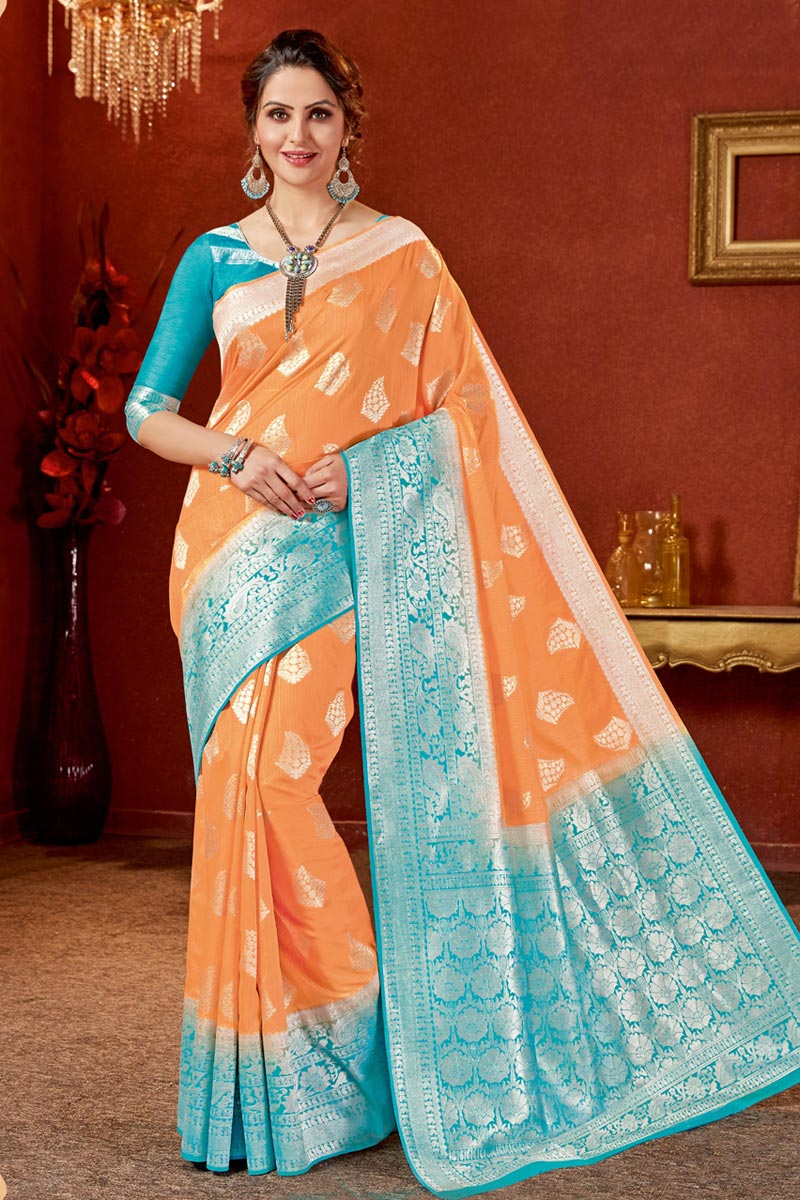Jacquard Work On Occasion Wear Saree In Orange Color With Designer Blouse