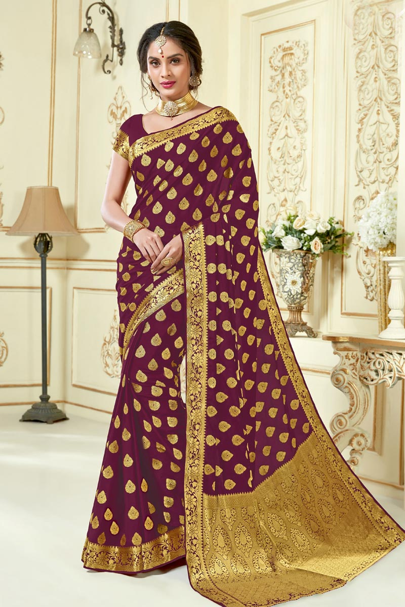Jacquard Work Fancy Traditional Burgundy Color Fancy Saree