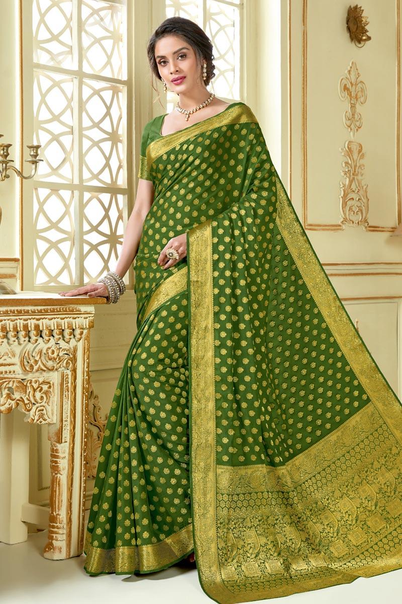 Green Color Jacquard Work Embellished Designer Saree In Art Silk Fabric