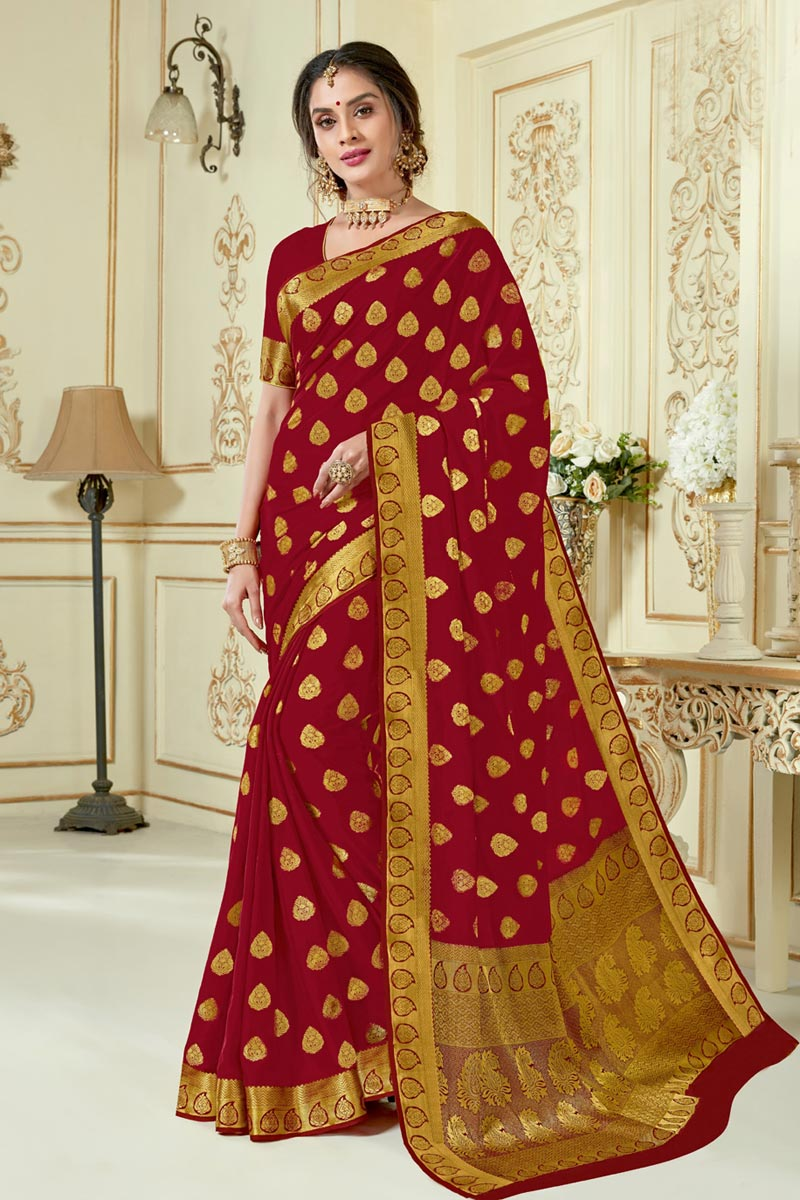 Red Color Traditional Jacquard Work Function Wear Saree