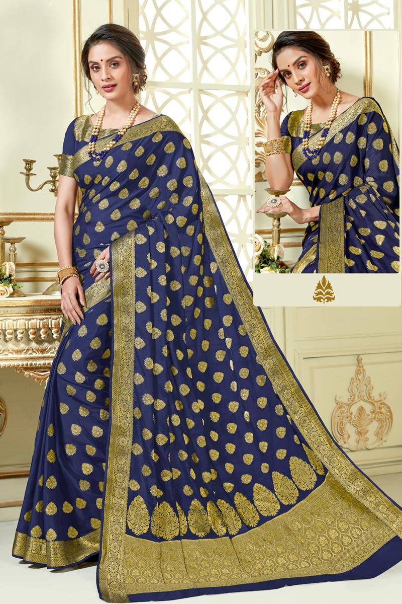 Jacquard Work Navy Blue Color Art Silk Fabric Traditional Fancy Saree