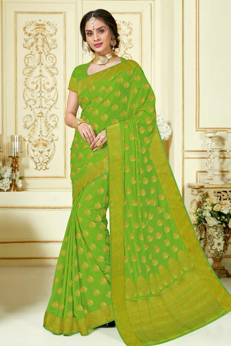 Jacquard Work Green Color Fancy Wedding Wear Saree In Art Silk Fabric