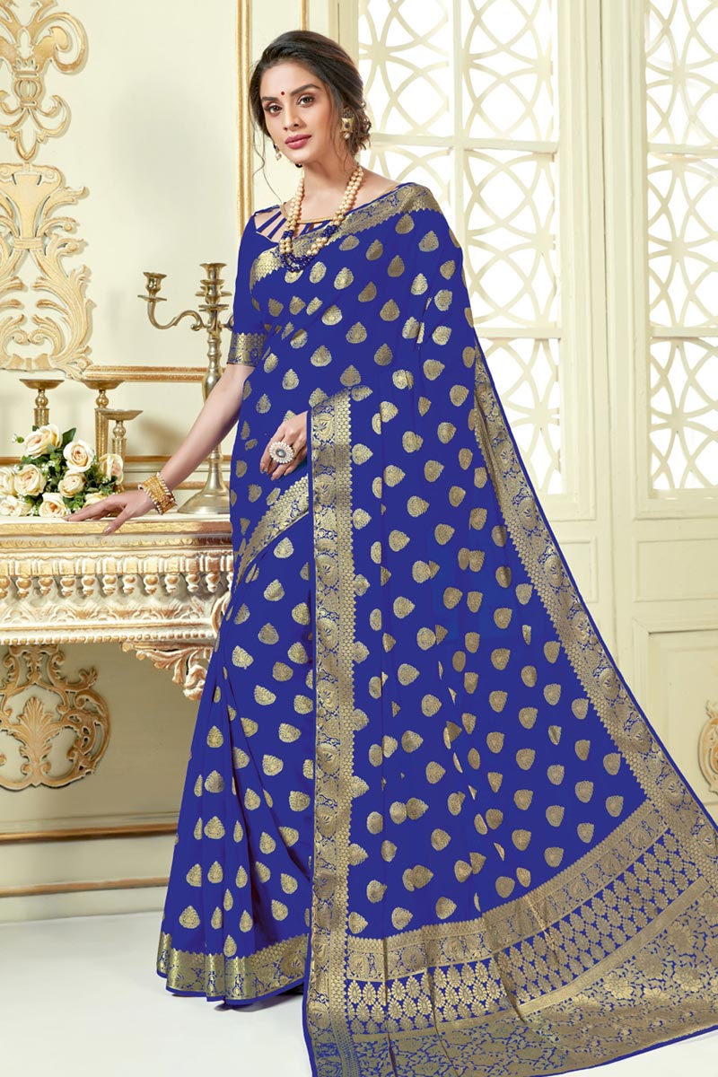 Blue Color Function Wear Fancy Jacquard Work Designer Saree