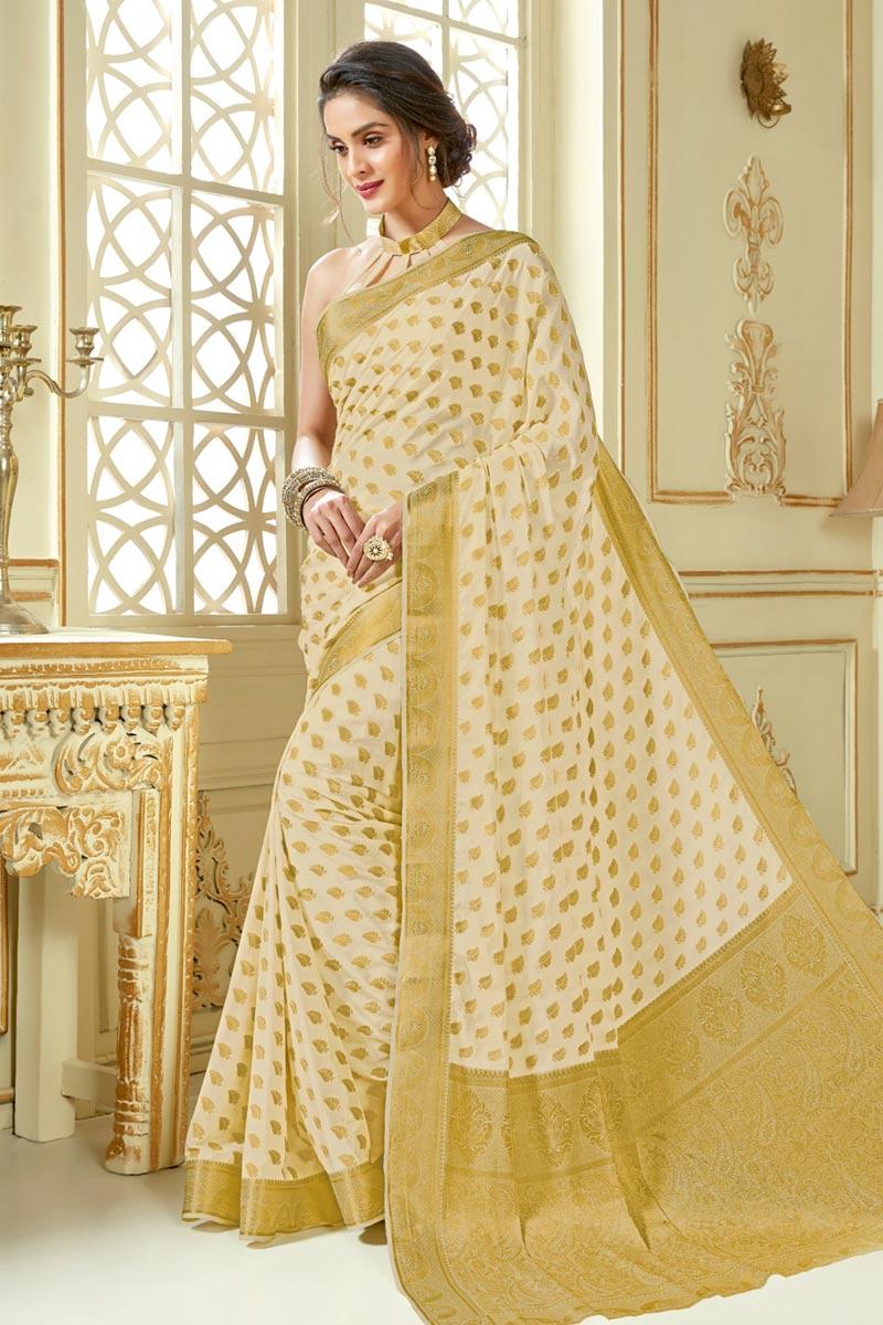 Beige Color Jacquard Work Designer Wedding Wear Saree In Art Silk Fabric