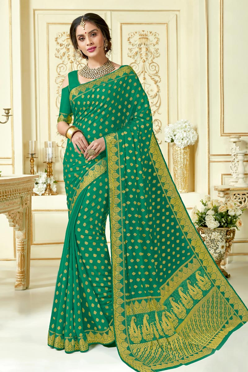 Green Color Jacquard Work Art Silk Fabric Embellished Designer Saree