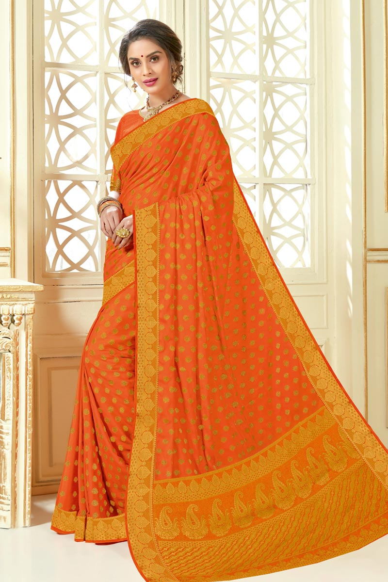 Jacquard Work On Art Silk Fabric Designer Saree In Orange Color
