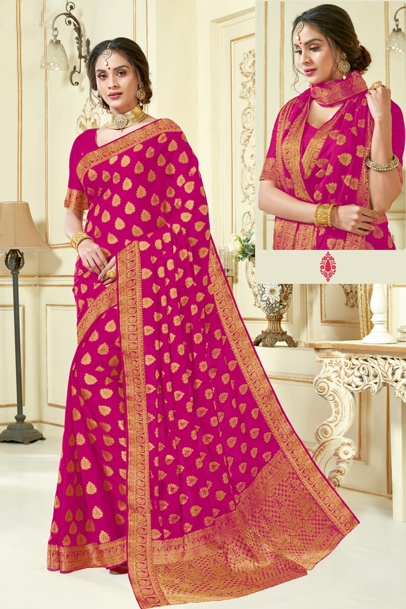Dark Pink Color Party Wear Saree In Art Silk Fabric With Jacquard Work