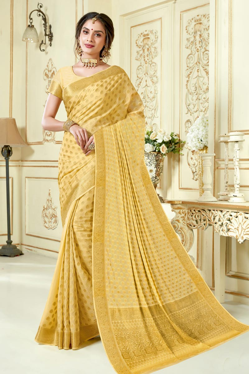 Art Silk Fabric Beige Color Festive Wear Saree With Jacquard Work