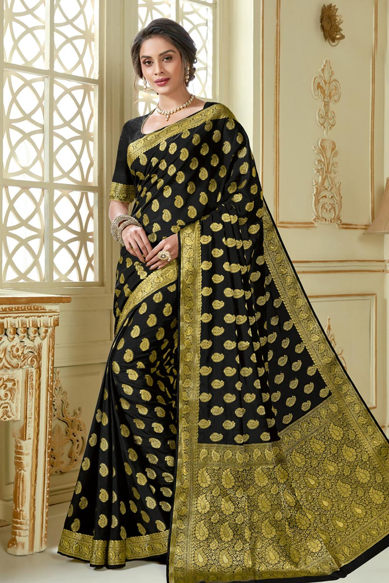 Art Silk Fabric Traditional Saree In Black Color With Jacquard Work