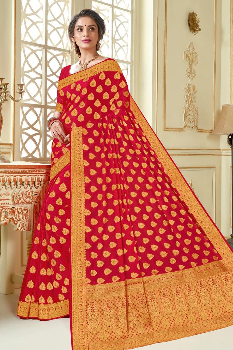Jacquard Work On Art Silk Fabric Function Wear Saree