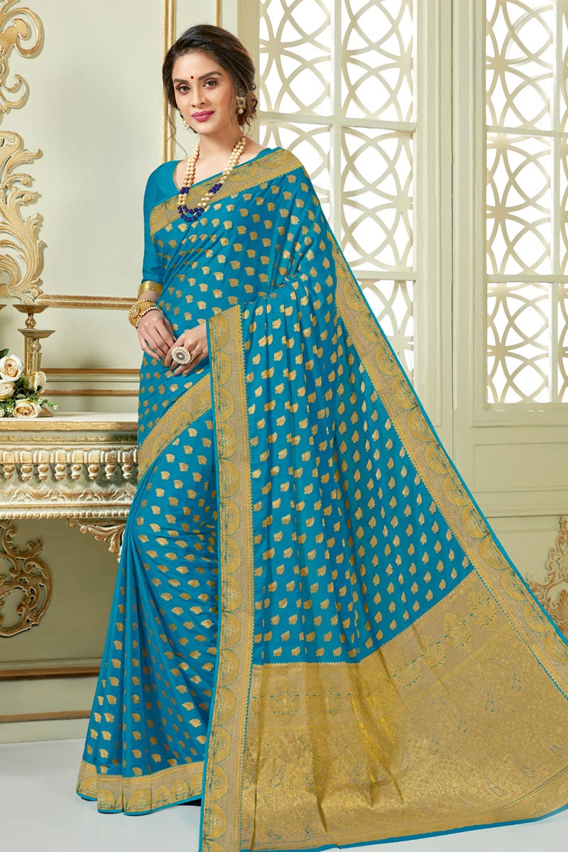 Sky Blue Color Art Silk Fabric Designer Saree With Jacquard Work