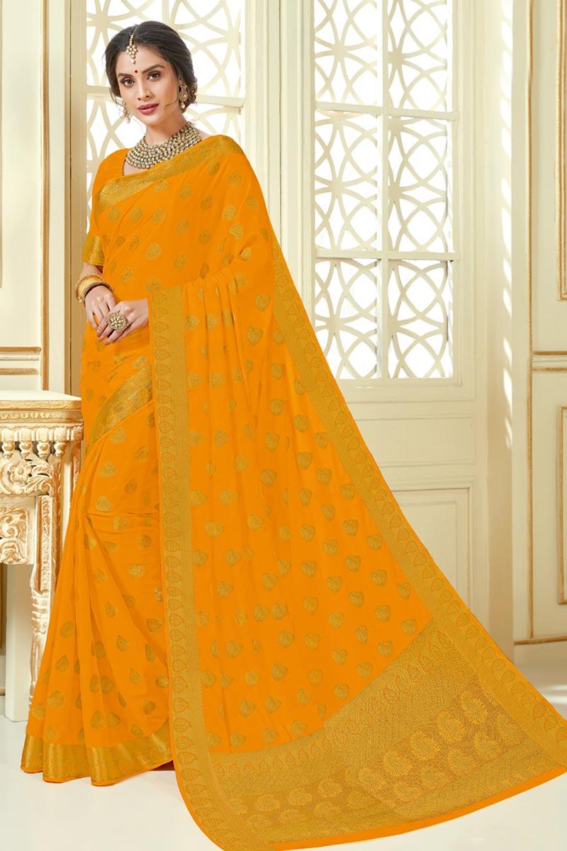Fancy Jacquard Work Mustard Color Traditional Saree In Art Silk Fabric