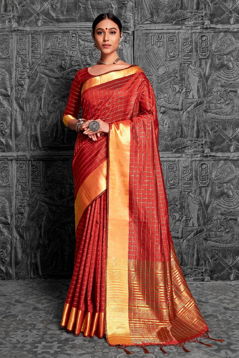 Fancy Jacquard Work Red Color Traditional Saree In Art Silk Fabric