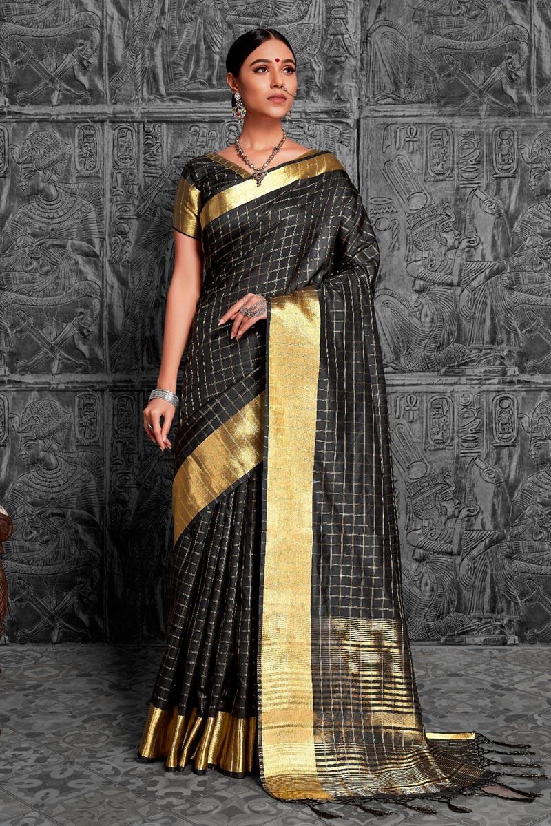 Jacquard Work Fancy Traditional Black Color Fancy Saree