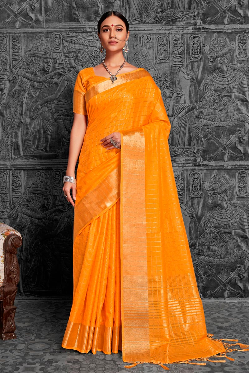 Orange Color Jacquard Work Embellished Designer Saree In Art Silk Fabric