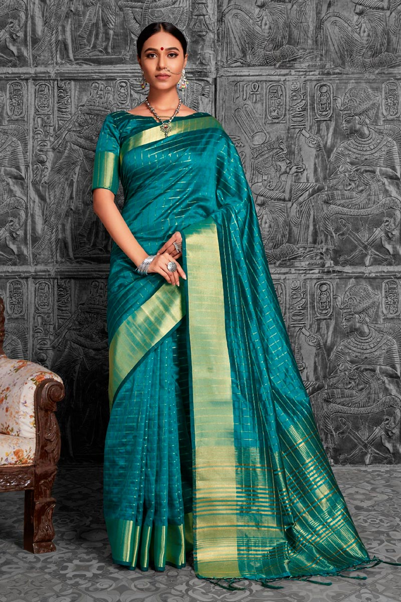 Sky Blue Color Traditional Jacquard Work Function Wear Saree