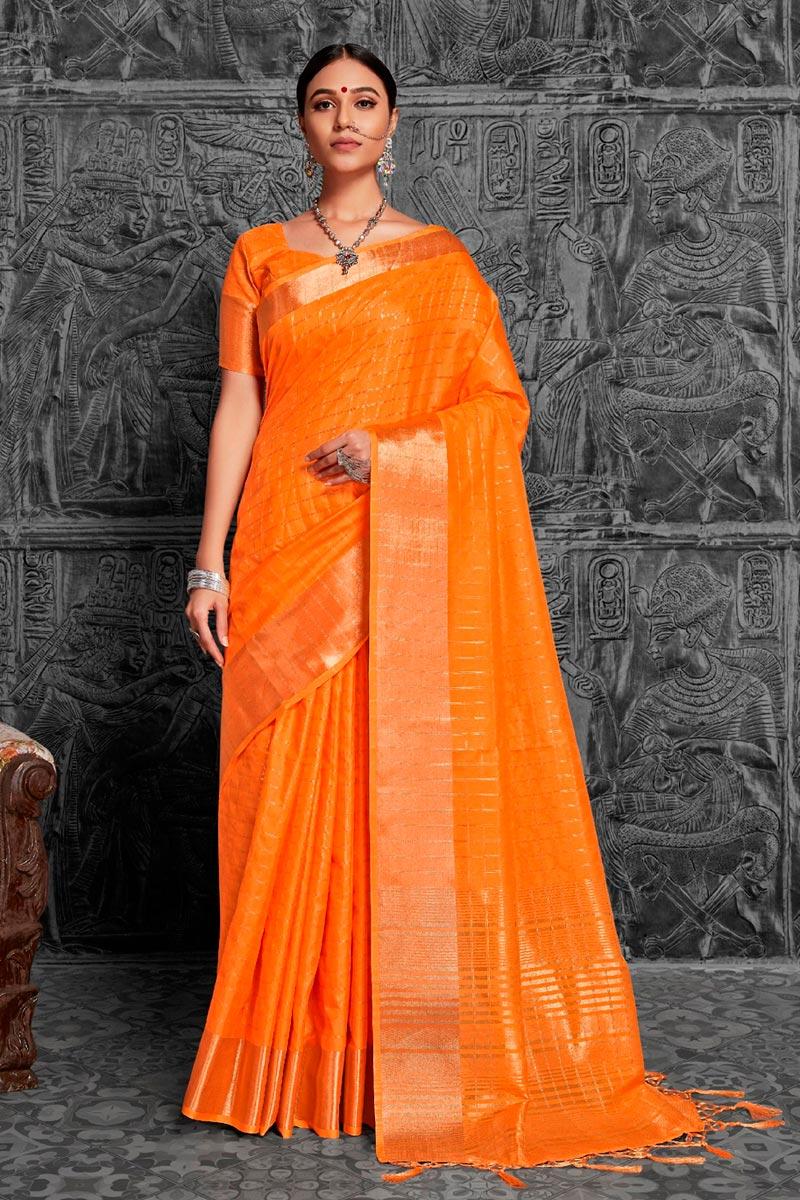 Jacquard Work Orange Color Fancy Wedding Wear Saree In Art Silk Fabric
