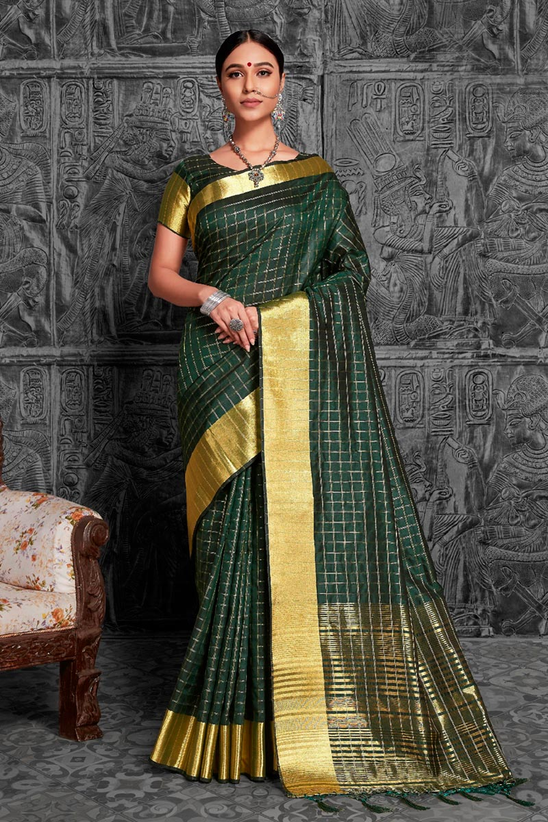 Jacquard Work Wedding Wear Green Color Traditional Saree