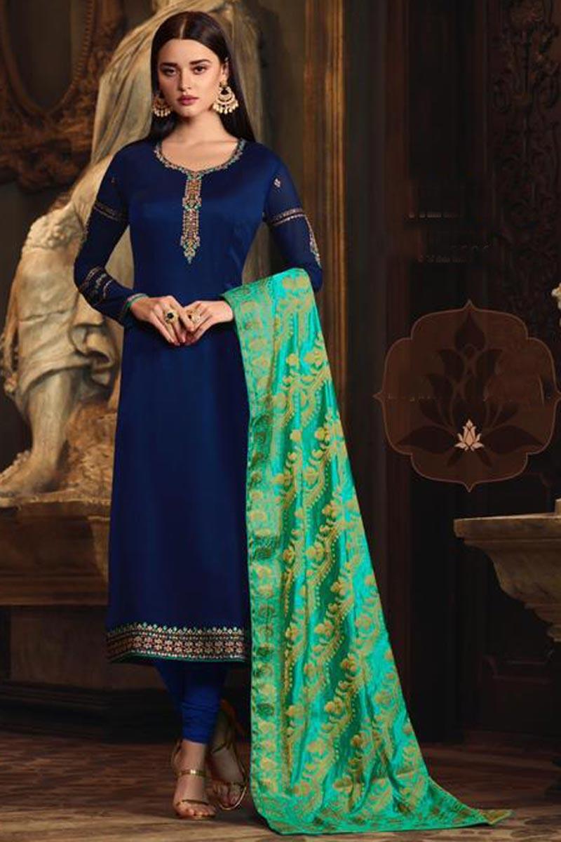 Mesmeric Navy Blue Designer Party Style Embroidered Georgette Salwar Kameez