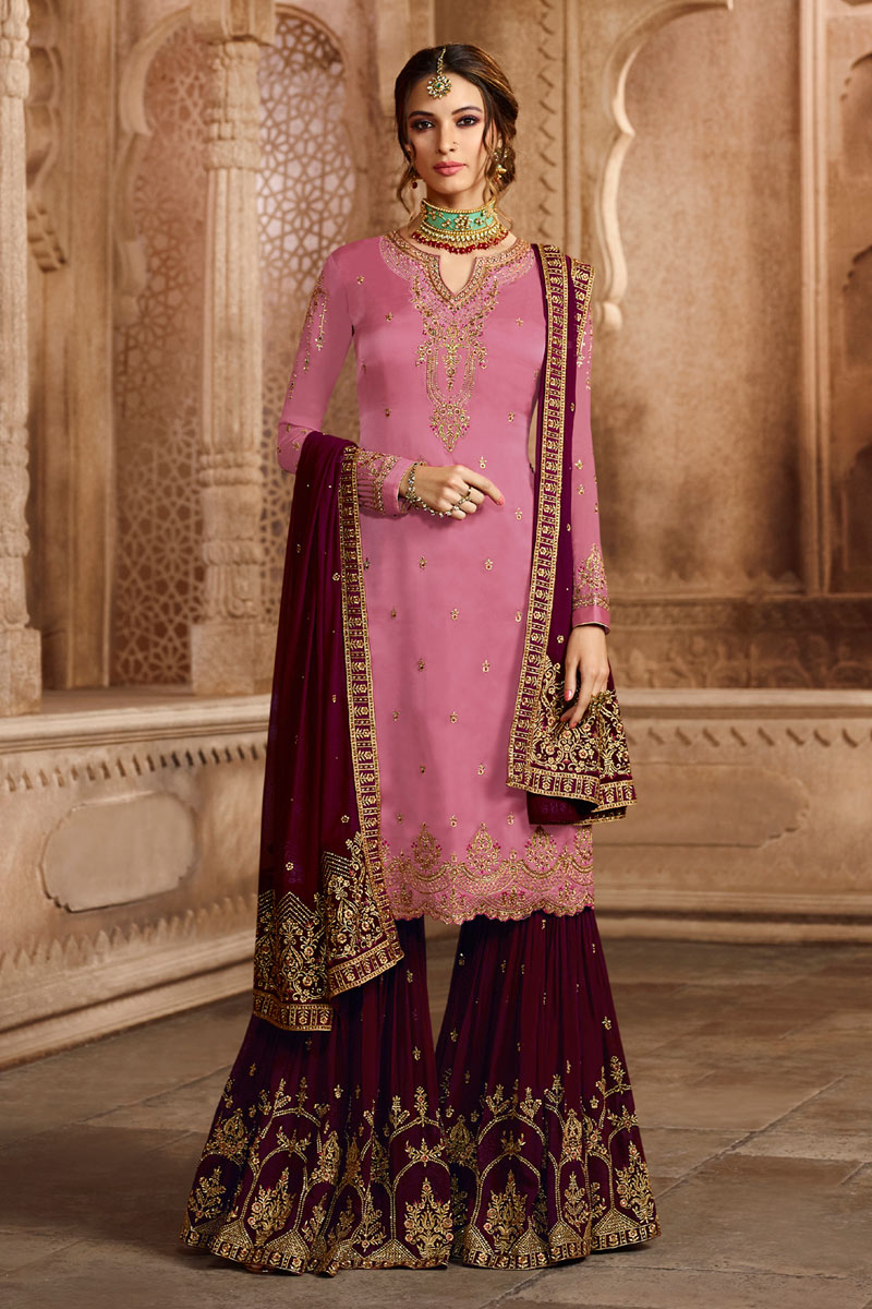 Pink Color Georgette Satin Sangeet Wear Sharara Palazzo Suit With Embroidery Work