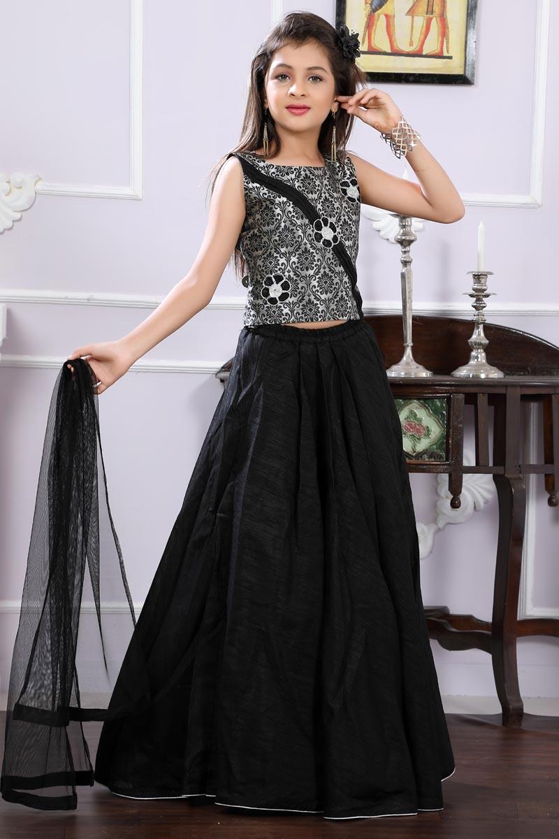 Function Wear Black Brocade Fabric Designer Lehenga Choli For Girls