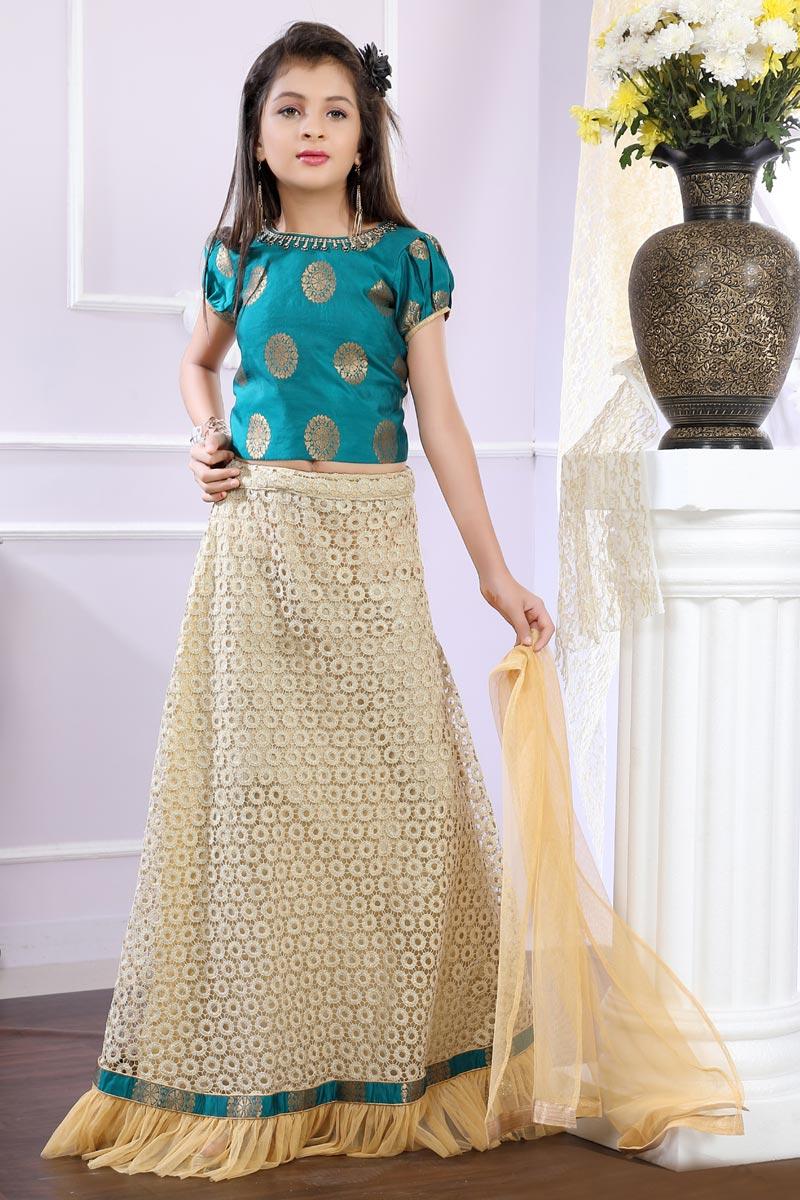 Brocade Fabric Designer Beige Color Girls Lehenga For Functions